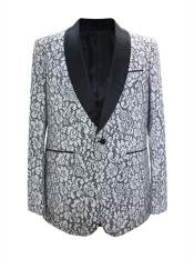 MO661 Mens One Button Floral Designed Shawl Lapel White