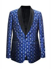 MO663 Mens One Button Dot Designed Shawl Lapel Royal