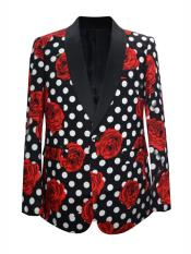 MO664 Mens One Button Floral ~ Dot Designed Shawl