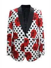 MO665 Mens One Button Floral ~ Dot Designed Shawl