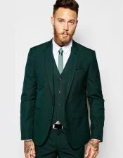 EK72 Mens Notch Lapel Single Breasted Green Flap Front