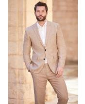 Linen-2BV Two button notch lapel khaki linen suit for