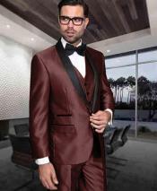 GD1873 Mens Shiny Tuxedo 1 Button Dark Brown Shawl
