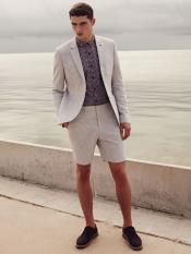 MO669 Mens 2 Piece Linen Causal Outfits Fabric summer