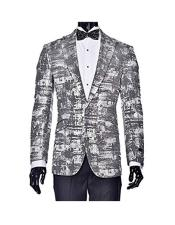 EK94 Mens Peak Lapel Single Breasted Tuxedo Silver Gray