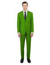 green two button classic fit suit men's