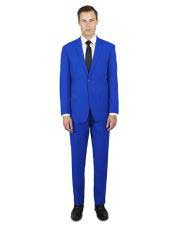 single breasted royal blue notch lapel suit