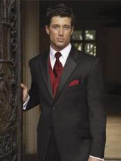 MO687 Mens Black Suit + Shirt + Red Vest