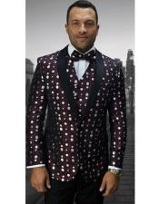 EK124 Mens Single Breasted Shawl Lapel Burgundy Polka Dot