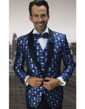 EK125 Mens One Button Polka Dot Pattern Shawl Lapel