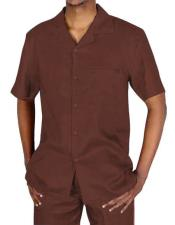 EK126 Mens Collared Button Closure Brown Short Sleeve Shirt
