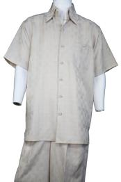 JA375 Mens Gridlock Short Sleeve Button Fastening Walking Suit