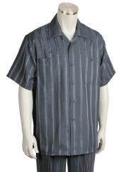 mens Button Fastening Centerline Stripe