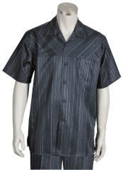 JA378 Mens Cross Stripe Short Sleeve Button Fastening Walking