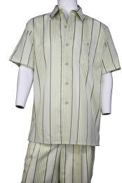 JA379 Mens Lemongrass Stripe Point Collar Short Sleeve Walking