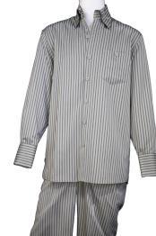 mens Button Fastening Victorian Stripes