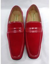 EK131 Mens Leather Lining Red Slip On Cushioned Insole