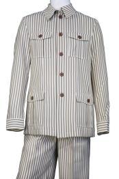 mens Victorian Stripe Button Fastening