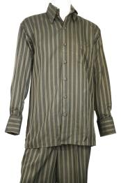 mens Dual Stripe Button Fastening