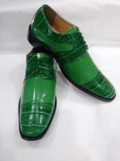 MO699 Mens Two Tone Tie Up Style Wingtip Green