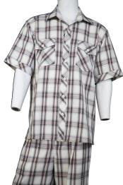 mens Crosshatch Checkered Button Fastening
