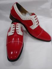 MO701 Mens Two Tone Lace Up Red Shoes