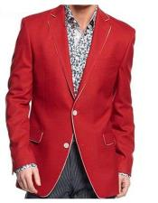 EK135 Mens Single Breasted Notch Lapel Solid Red Flap