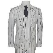 JA403 Mens White and Black Bold Chalk Pinstripe ~