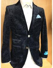 mens Black Ticket Pocket Paisley Blazer