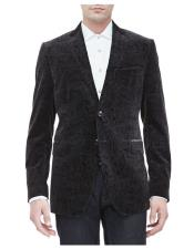 mens Black Two Button Paisley Velvet