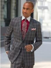 MO767 Mens Charcoal Grey ~ Gray Plaid ~ Windowpane