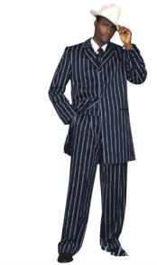 mens Navy Blue Pinstripe Pattern Suit