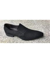 EK173 Mens Black Leather Cushioned Insole Slip On Textured