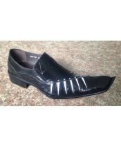 EK178 Mens Cushioned Insole Black Leather Slip On Shoe