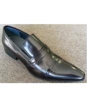 Mens Leather Black Cushioned