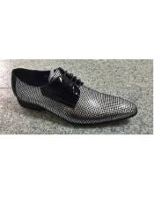 EK181 Mens Silver Leahter Four Eyelet Lacing Polka Dot