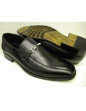 EK194 Mens Slip On Black Leather Cushioned Insole Shoe