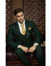 EK215 Mens Notch Lapel Single Breasted Tuxedo Dark Green