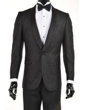 mens Black Velvet Paisley Suit