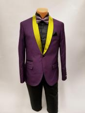MO785 Mens One Button Bright Gold Shawl Lapel Purple
