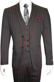 MO791 Male Black and Red Pinstripe Chalk Custom Looking