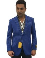 EK219 Mens Blue Notch Lapel Two Button Single Breasted