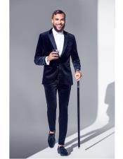 EK226 Mens Single Breasted Slim Fit Suit Navy Blue