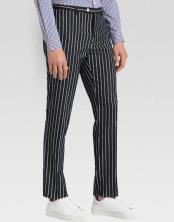 MO798 Men's slacks Black Ganagster Chalk Striped ~ Pinstripe