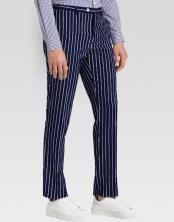MO799 Men's slacks Dark Navy Blue Ganagster Chalk Striped