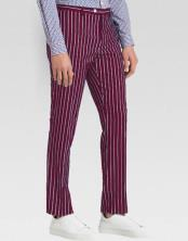 MO803 Men's slacks Wine Ganagster Chalk Striped ~ Pinstripe