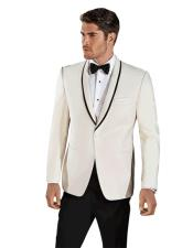 EK242 Mens Single Breasted Cream ~ Ivory Shawl Lapel