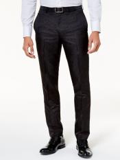 MO809 Velvet ~ Velour Black Tonal Paisley Pants Flat
