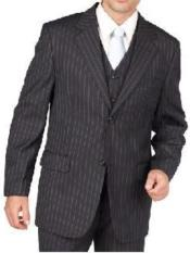 Mens Charcoal Gray Pinstripe