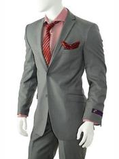Mens Solid Gray Slim